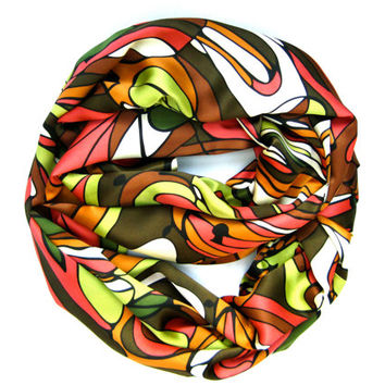 Womens Multicolored Endless Loop Scarf Abstract Circle Infinity Scarf Brown Apple Green Orange Women Scarves Accessory Fashion Statement