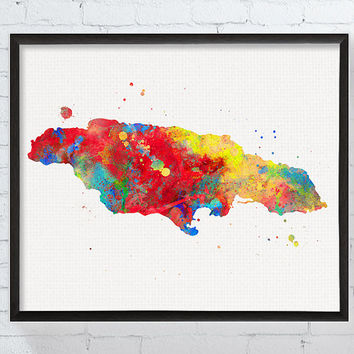 Jamaica Map, Watercolor Map, Map Poster, Map Art Print, Countries, Travel Poster, Framed Art, Custom Color, Jamaica Painting, Silhouette
