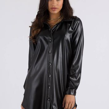Leather Report Button-Up Shirt Dress