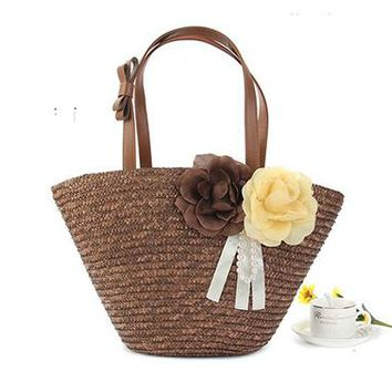 Knitted Straw Bag With Bow Flower Bohemia Women's Handbags Color Stripes Shoulder Bags Summer Beach Bag Big Tote Bags