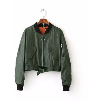 Army Green Zippers Detial Crop Bomber Jacket LAVELIQ