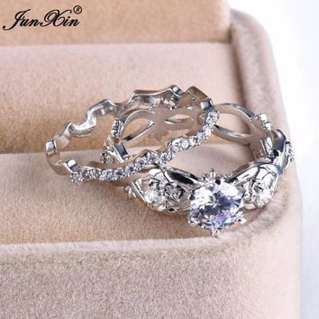 JUNXIN Boho Female White Zircon Ring Set Fashion 925 Sterling Silver Filled Jewelry Vintage CZ Wedding Rings For Women