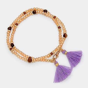 Beaded Wrap Stretch Bracelet With Double Tassel Charms
