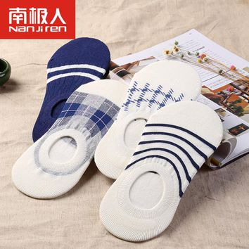 2017 NEW Brand summer slipper socks men patchwork solid socks for men shallow mouth socks 100% cotton invisible 4 pairs/lots