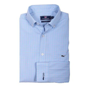 Custom Stowaway Plaid Classic Tucker Shirt in Ocean Breeze by Vineyard Vines