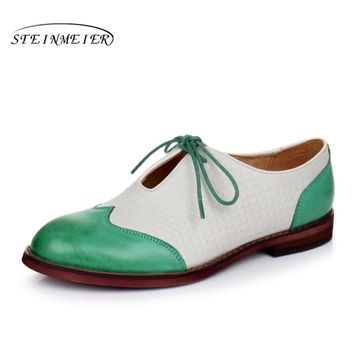 Genuine leather woman size 9 designer yinzo vintage flat shoes round toe handmade black green yellow oxford shoes for women 2017