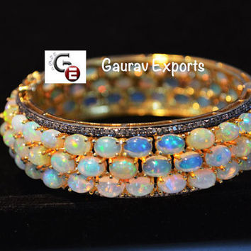 51% Discount Very Beautiful Diamond and 3 Line Ethiopian Opal Hand made Bangle Bracelet in 92.5 silver, 24 karat gold polish