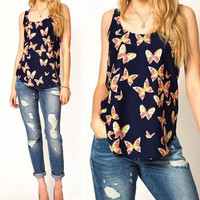 Sleveless Butterfly Print Tank Top