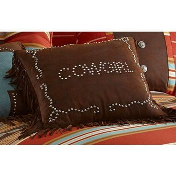 HiEnd Accents Brown Cowgirl Studded Faux Leather Pillow