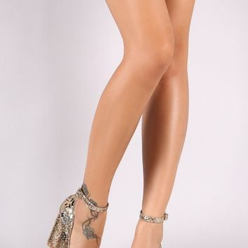 Glitter Embellished Ankle Strap Pointy Toe Chunky Heeled Pump
