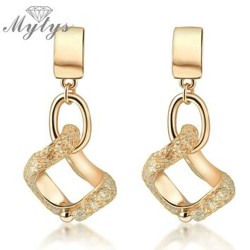 Mytys Geometric Square Drop Dangle Earrings For Women Wire Mesh Crystal Collection Jewelry New Arrival E269