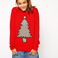 ASOS | ASOS Holidays Sweater With Tinsel Tree at ASOS