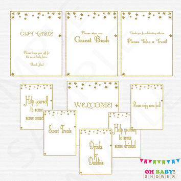 Gold Baby Shower Decorations, 9 Baby Shower Table Signs, Twinkle Twinkle Little Star, Welcome Sign Guest Book, Gender Neutral Printable STPG