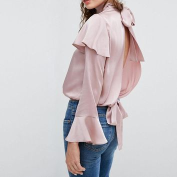 Stylish simple solid color sexy halter satin lace shirt sleeve shirt