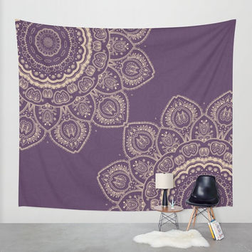 Wall Tapestry - 'Lavender Tulips Mandala' - Home,Decor, Wall,Modern, Home Warming Gift, Symmetry, Harmony, Bohemian, Boho, Hippie