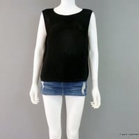 Vintage Knitted Mesh Tank Top by Chicos Design 1980s Womens Black Tank Top S-M