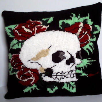 Hand knitted decorative pillow / cushion cover. Ed Hardy tattoo style skull and rose design. 18""