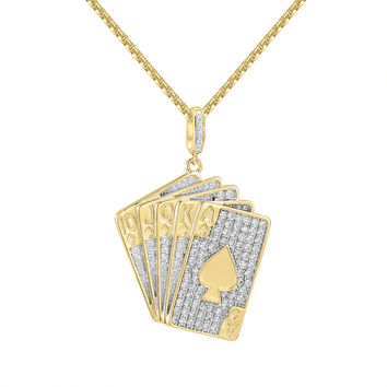 "Men's 14k Gold Finish Custom Playing Cards Iced Out Pendant Free 24"" Box Chain"