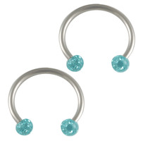 Hard Candy Aquamarine Crystal Circular Barbell Horseshoe [Gauge: 16G - 1.2mm / Diameter: 12mm / Ball Size: 3mm] 316L Surgical Steel & Ferido //...