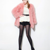 Fur Collarless Coat