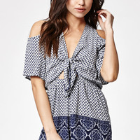 Kendall and Kylie Tie Front Cold Shoulder Romper at PacSun.com