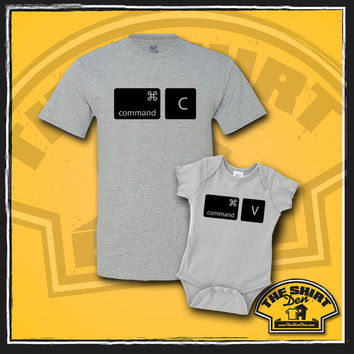 Command Copy Paste T-Shirts - Tee - Matching Dad And Baby - New Baby - Father And Baby Set - Father's Day - Nerdy - Copy and Paste - Mac
