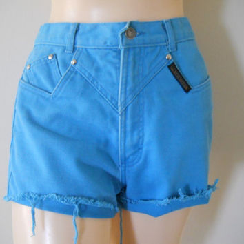 High Wasted Shorts High Waisted Shorts Highwaisted Shorts Teal Shorts 90s Shorts Colored Denim Shorts Cutoff Jean Shorts High Waisted Cutoff
