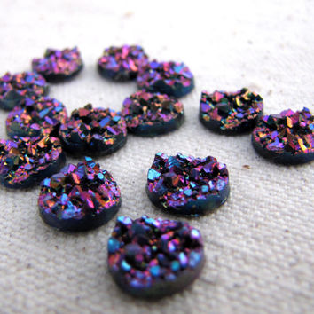 10 pcs Faux Druzy Cabochons  - 10mm Purple Rainbow Resin