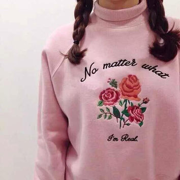 Women's ulzzang vintage Harajuku exclusive custom retro high-necked fleece embroidered roses for women sweatshirt
