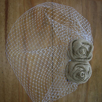 Rustic Birdcage Veil and Burlap Rose Fascinator, Burlap Wedding Veil, Short Ivory Veil, Birdcage Hairpiece Vintage Inspired. Retro, Rustic