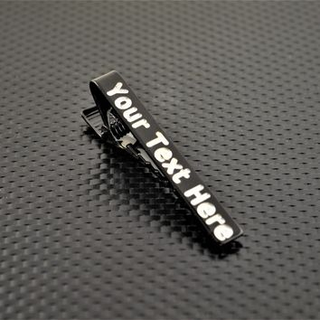 Custom Black Tie Clip, Wedding Gift, Groomsmen Gift, Father's Day, and Graduation Gift