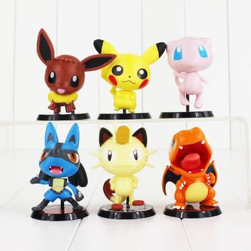 6pcs/set Anime Cute Charizard Meowth Mew Eevee PVC Action Figure Collection Model Toy
