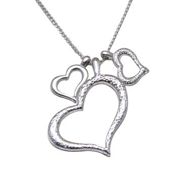 White Silver Three Heart  Pendant Necklace For Women