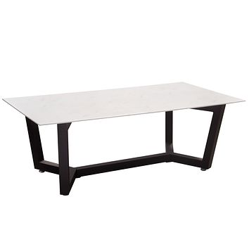 Caplan Rectangular Cocktail Table with Ceramic Marble Glass Top and Black Powder Coat Base