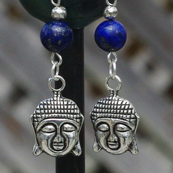 Lapis Lazuli Buddah Earrings ~ Tibetan Charm Buddah ~ Lapis Dangle Earrings ~ Boho Jewellery ~ Bohemian Blue ~ Healing Stones ~ Hippy Style