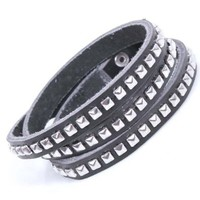 Studded Infinity Handmade Leather Bracelet with Buckle Clasp