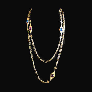 Extra Long Chain Necklace In Gold Tone, With Blue and Purple Cabochons, Also Can Be Worn As A Belt