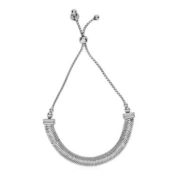 Adjustable Herringbone Texture Draw String Bracelet in Sterling Silver