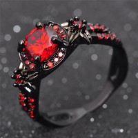 Black Gold Filled Ruby Cubic Zirconia Rings Promise Rings Engagement Rings