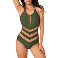 Army Green Mesh One-Piece Summer Bathing Suit