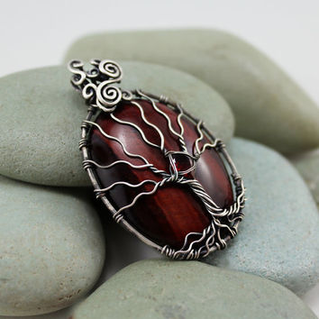Red Tigers eye tree of life pendant sterling by MoonGlowJewelry
