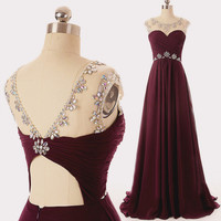 A-Line Prom Dresses,Maroon Chiffon Prom Dress,Evening Dresses