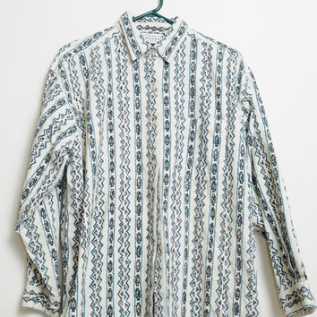 Vintage 80s/90s Corduroy Tribal Aztec South Western Button Up Shirt Unisex