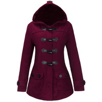 Winter Toggle Front Hooded Coat with Pockets in Multicolor