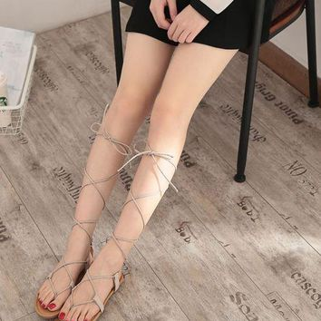 Lace up sexy knee high gladiator sandals