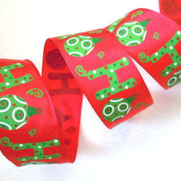 "wired Christmas ribbon decorations ""Ho Ho Ho"" red green Christmas tree ribbon Christmas Ribbon wreaths make garland gift wrap bow 1.5"" 5yd"