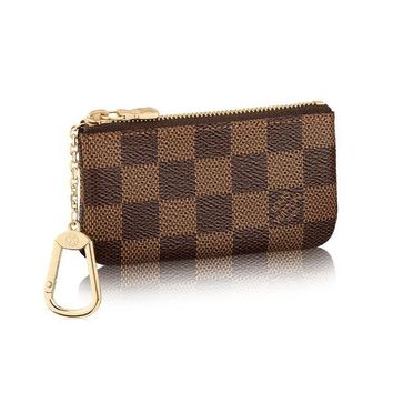 DCK4S2 Louis Vuitton Damier Canvas Key Pouch Key Ring N62658 Made in France
