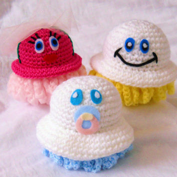 Family Pack of Scrubbles - One Pot Scrubber - One Exfoliating Poof - One Super Soft Baby Scrubbie