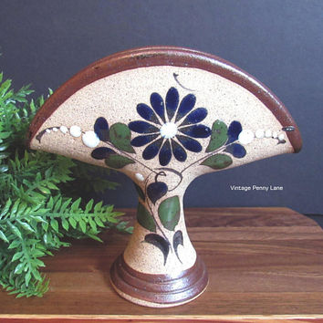 Vintage Mexican Pottery Napkin Holder, Handmade Ceramic Pottery Letter Holder, Hand Painted Mexican Pottery