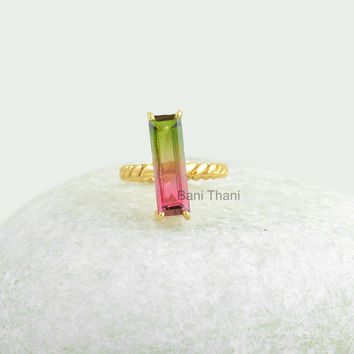 Designer Watermelon Tourmaline Bi Doublet Quartz 6x18mm Prong Set Ring Gold Plated 925 Silver Ring Jewelry #12011